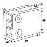Spigot de vidro da braçadeira do quadrado do aço inoxidável usado no vidro da fixação (CR-054)