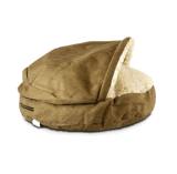 La caverne confortable de luxe a couvert le lit foncé d'animal familier de chien