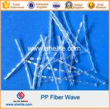 Fibra macro curvada fibra da onda do Polypropylene da fibra da Anti-Rachadura dos PP
