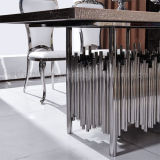 MDFの上のレストラン表が付いている銀製のダイニングテーブル