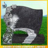 Roter Granit-Grundstein mit Zeile Schnitzen