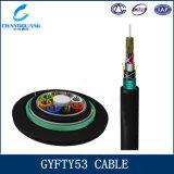 Prix aérien non métallique de mètre du câble fibre optique GYFTY53 de porteur central