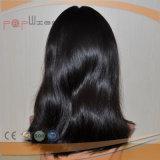 La mejor peluca de la tapa de la piel del color del negro de la calidad de Euroean del pelo de gama alta de la Virgen