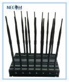 De krachtige Stoorzender van het Signaal van de Stoorzender van de Telefoon van de Cel van de Hoge Macht Draagbare, 3G GPS van CDMA de Stoorzender van het Signaal van de Telefoon van de Cel, 4G GSM van de Telefoon CDMA van de Cel van het Blok van de Stoorzender Mobiele GPS 3G WiFi Lojack