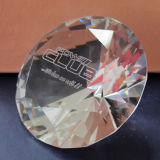 "80mm "" Paperweight di cristallo del diamante 3 con la sabbiatura di marchio incidono"