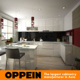 Gabinetes de cozinha modulares de canto de madeira da laca em forma de u de Oppein (OP15-L33)