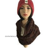 Earflapおよび羊毛のライニングが付いている新しく美しい子供および女性の綿のアクリルの帽子の帽子