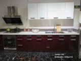 Moderner hoher glatter hölzerner Küche-UVschrank (ZH0967)