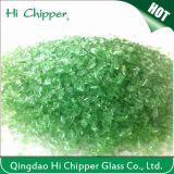 押しつぶされた薄緑のガラスチップ