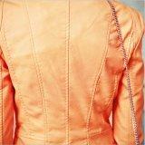 Les femmes C1226 court-circuitent la veste en cuir de moto d'unité centrale de collier mou de stand