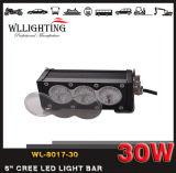 6inch 30W는 단 하나 줄 Offroad SUV 4X4 램프를 위한 색깔 렌즈 크리 사람 LED 표시등 막대 이중으로 한다