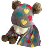 Шлем & шарфы детей связанный с Pompom на зима