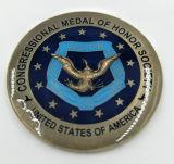 Le métal/antiquité/souvenir/or fait sur commande/police militaire/argentée contestent la pièce de monnaie avec le logo aucun minimum