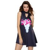 Blumenschlüsselloch-Vorderseite-beiläufiges Becken-Kleid