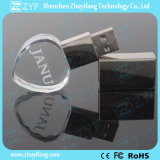 Movimentação de cristal do flash do USB da forma do coração com logotipo 3D (ZYF1523)
