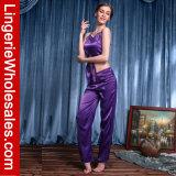 Pyjamas sexy de courroies de soie d'émulation de chemises de nuit des parties des femmes les deux ont placé