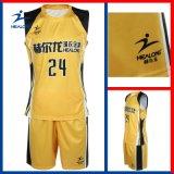 Uniforme amarelo e preto do Sublimation feito sob encomenda de Healong do basquetebol