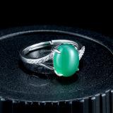 Anel verde embutido da abertura da ágata da prata esterlina da mulher 925