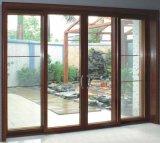 Porte coulissante de PVC de couleur boisée de choc d'ouragan avec la glace Tempered de double vitrage pour le patio