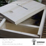 Rectángulo de madera de encargo de Hongdao con dos porciones para las fotos y USB Wholesale_L
