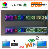 52''x8 Outdoor '' pouces 1/4 numérisation RGB P10 Full Color LED Sign Support USB WiFi de l'ordinateur Modifier pour l'affichage LED Advertising Media