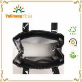 비닐 PVC 쇼핑 끈달린 가방 빛나는 비닐 검정 PVC 지퍼 끈달린 가방