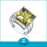 El platino de lujo plateó el anillo de la plata esterlina 925 con CZ (R-0339)