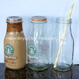 Glasglas 200ml für Wasser/Fruchtsaft-Getränkemilch-Glasflasche mit Stroh und Überwurfmutter