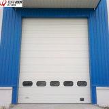 Промышленная электрическая моторизованная термально изолированная надземная секционная сползая дверь гаража