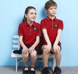 Chemise de polo unisexe faite sur commande de broderie de qualité d'uniforme scolaire de couleur rouge d'été
