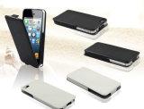 Caixa de couro Foldable nova do telefone de pilha da aleta para o iPhone 5