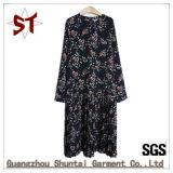Soem-Verkaufs-Sprung-/Herbst-langes Hülsen-Blumen-Muster-Frauen-Kleid mit Reißverschluss