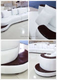Sofá curvado original moderno do lazer do couro genuíno do estilo