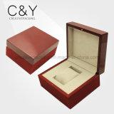 Caixa de relógio de madeira envernizada vermelha para a venda