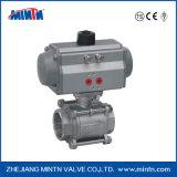 Vávula de bola del actuador del control neumático del acero inoxidable de la válvula de Mintn para el tratamiento de aguas