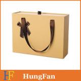 Caixa de embalagem de presente de gaveta de laminação por atacado de fábrica com alça de fita