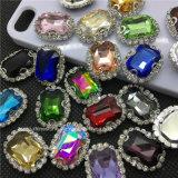 2016 최신 장방형 편평한 뒤는 모조 다이아몬드 클로 조정 결정 (SW 장방형 10*14mm 사파이어)에 꿰맨다