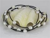 Venta al por mayor blanca de cuero larga 2016 del collar de la perla de Snh