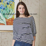 Navy Style를 가진 여자의 Fashion Stripe Custom Design T-Shirt