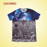 100% T-shirt de sublimation de polyester, meilleur T-shirt fait sur commande des prix de Crewneck T-Shirt&The