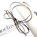 長いヒョウのヘビの革DIY Bowknotのチョークバルブのネックレスセット
