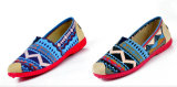 Loafer ботинок Slip-on квартир холстины высокого качества женщин ленивый