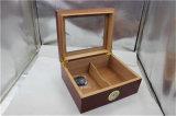 Humidometer 여송연 세트를 가진 호화스러운 삼목 목제 담배 저장 상자