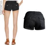 Donne del nero dello Spandex di modo di alta qualità di estate della fabbrica le ultime mettono i pantaloni in cortocircuito dei jeans