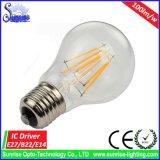 luz de bulbo do filamento do diodo emissor de luz de 100lm/W E27 4With6With8W com Ce RoHS
