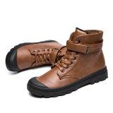 Premières gaines de cheville de neige de l'hiver de chaussures en cuir de vache à couche d'hommes
