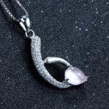 Collana Pendant di cristallo viola d'argento delle donne 925 con la catena