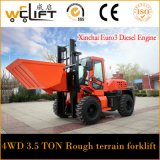 Forklift do diesel do terreno 4X4 áspero