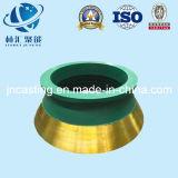 Alto tazón de fuente y capa de la pieza de acero fundido de manganeso para la trituradora del cono