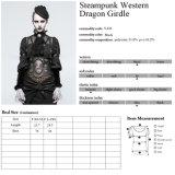 Waistcoats ocidentais do PVC de mulheres pretas do café de Steampunk da impressão do dragão do estilo S-216